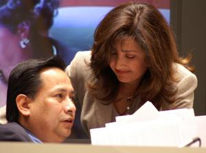 Primary view of object titled '[Dallas City Council members Elba Garcia and Steve Salazar]'.