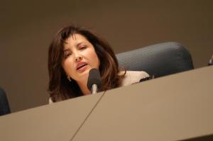 Primary view of object titled '[Elba Garcia speaking during meeting]'.