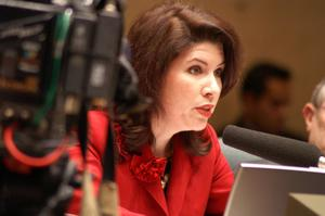 Primary view of object titled '[Unidentified Dallas City Council member speaks into microphone]'.
