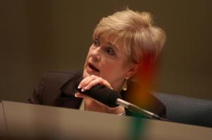 Primary view of object titled '[Unidentified Dallas City Council member speaking into microphone]'.