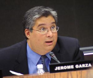 Primary view of object titled '[Jerome Garza speaks at a meeting]'.
