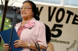 Primary view of object titled '[Adelfa Callejo speaking into microphone]'.