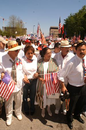 Primary view of object titled '[Immigration protesters at the April Mega March]'.