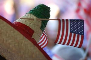 Primary view of object titled '[American flag on sombrero]'.