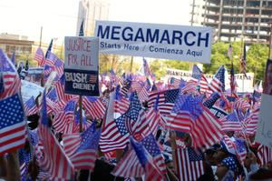 Primary view of object titled '[Sea of signs and American flags]'.