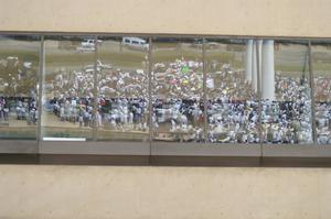 Primary view of object titled '[Protesters are reflected in windows]'.