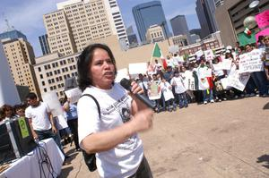 Primary view of object titled '[Dallas protester, Margarita Alvarez, addresses the crowd]'.