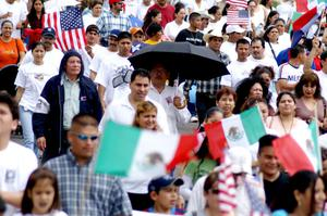 Primary view of object titled '[Group of Protesters With Mexican and American Flags]'.