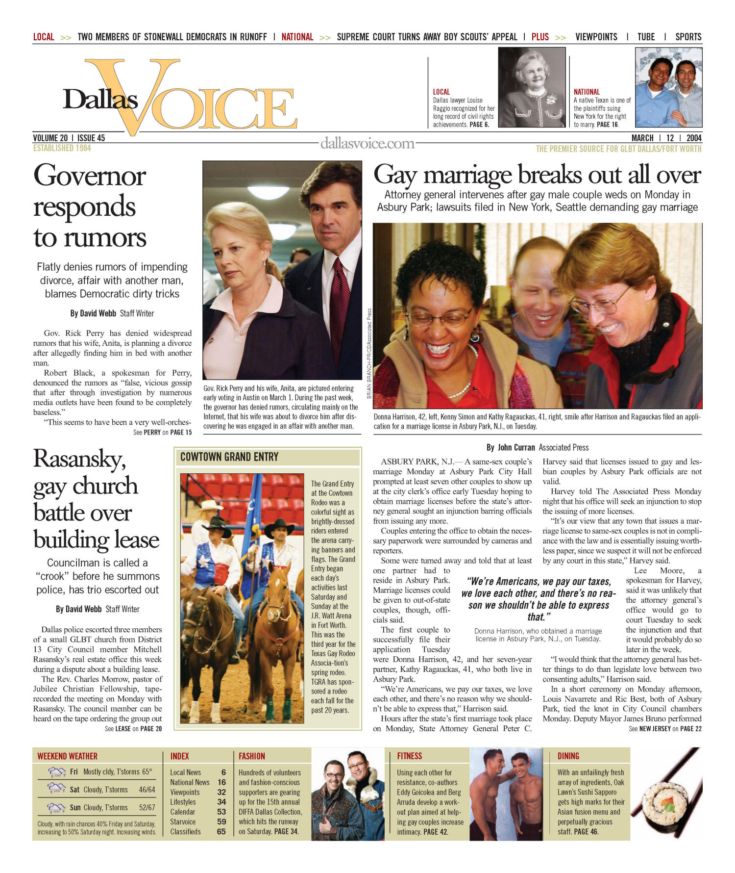 Dallas Voice (Dallas, Tex.), Vol. 20, No. 45, Ed. 1 Friday, March 12, 2004                                                                                                      [Sequence #]: 1 of 72