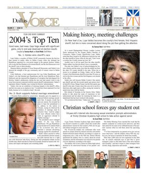 Dallas Voice (Dallas, Tex.), Vol. 21, No. 34, Ed. 1 Friday, December 31, 2004