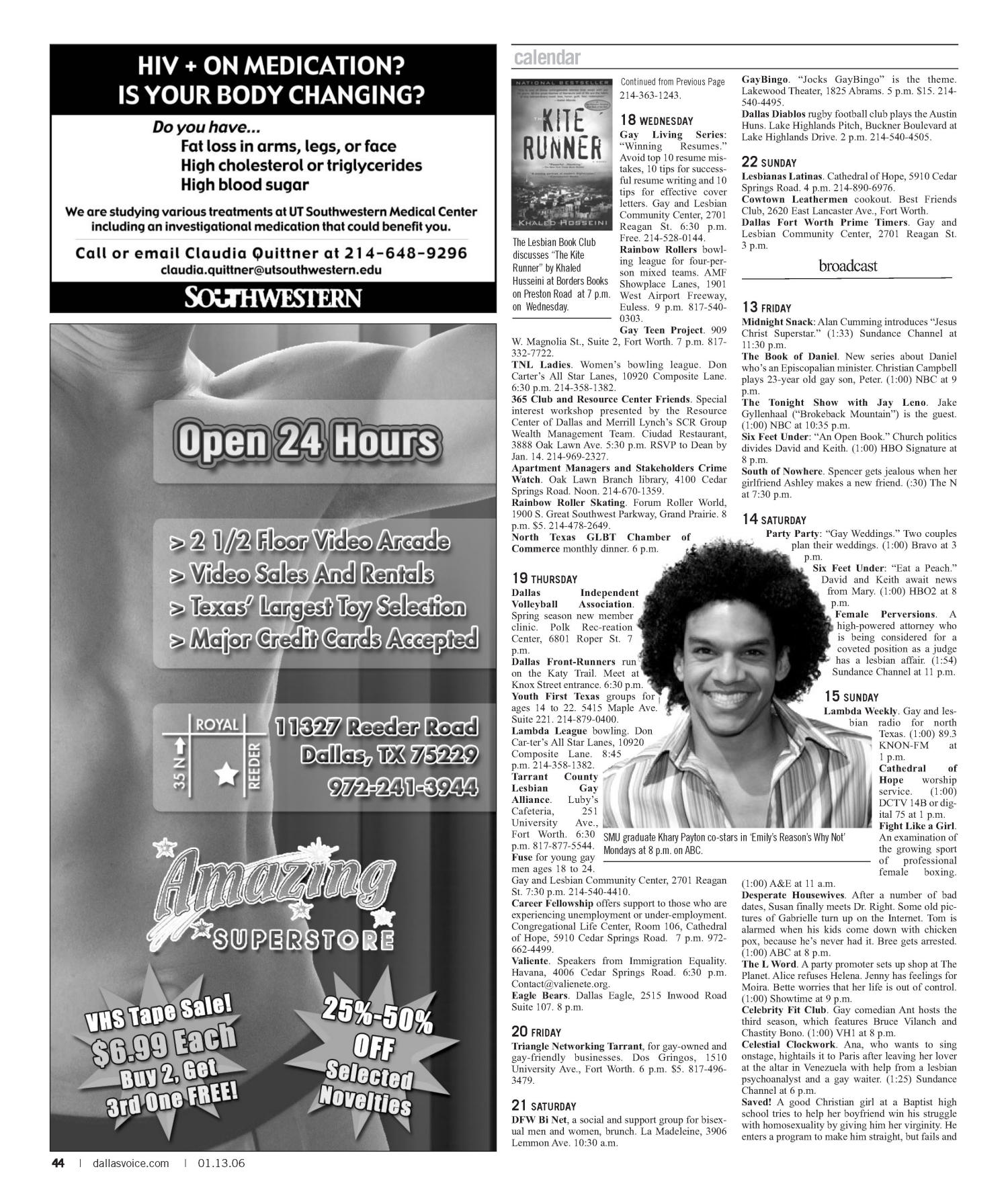 Dallas Voice (Dallas, Tex.), Vol. 22, No. 35, Ed. 1 Friday, January 13, 2006                                                                                                      [Sequence #]: 44 of 60