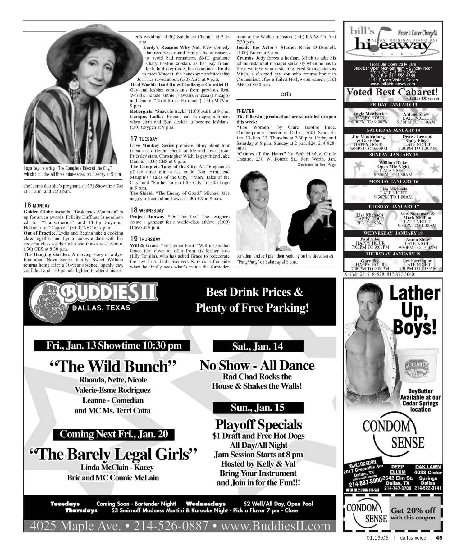 Dallas Voice (Dallas, Tex.), Vol. 22, No. 35, Ed. 1 Friday, January 13, 2006                                                                                                      [Sequence #]: 45 of 60