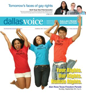 Primary view of object titled 'Dallas Voice (Dallas, Tex.), Vol. 26, No. 18, Ed. 1 Friday, September 18, 2009'.