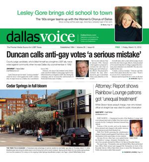 Primary view of object titled 'Dallas Voice (Dallas, Tex.), Vol. 26, No. 43, Ed. 1 Friday, March 12, 2010'.