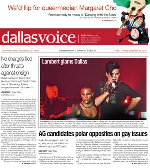 Primary view of object titled 'Dallas Voice (Dallas, Tex.), Vol. 27, No. 17, Ed. 1 Friday, September 10, 2010'.