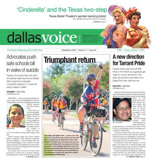 Primary view of object titled 'Dallas Voice (Dallas, Tex.), Vol. 27, No. 20, Ed. 1 Friday, October 1, 2010'.