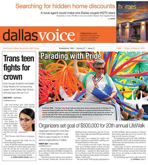 Primary view of object titled 'Dallas Voice (Dallas, Tex.), Vol. 27, No. 21, Ed. 1 Friday, October 8, 2010'.