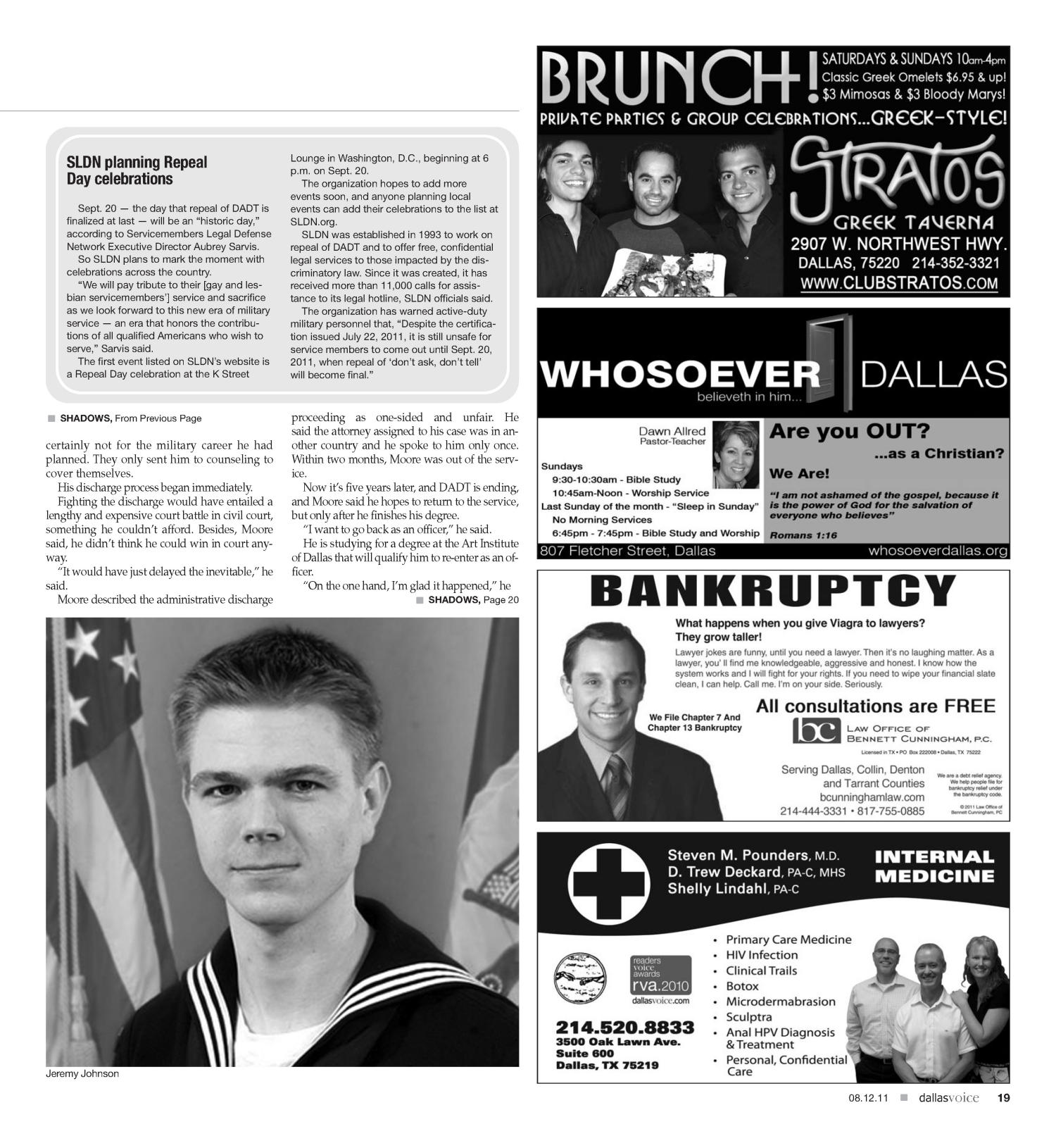Dallas Voice (Dallas, Tex.), Vol. 28, No. 13, Ed. 1 Friday, August 12, 2011                                                                                                      [Sequence #]: 19 of 56