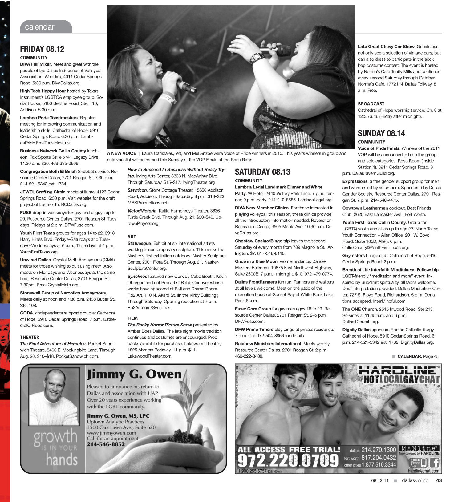 Dallas Voice (Dallas, Tex.), Vol. 28, No. 13, Ed. 1 Friday, August 12, 2011                                                                                                      [Sequence #]: 43 of 56