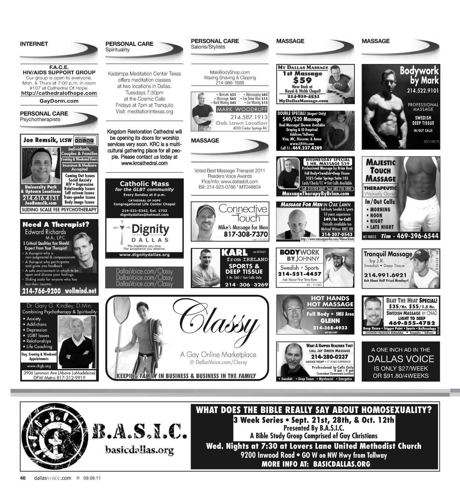 Dallas Voice (Dallas, Tex.), Vol. 28, No. 17, Ed. 1 Friday, September 9, 2011                                                                                                      [Sequence #]: 46 of 48