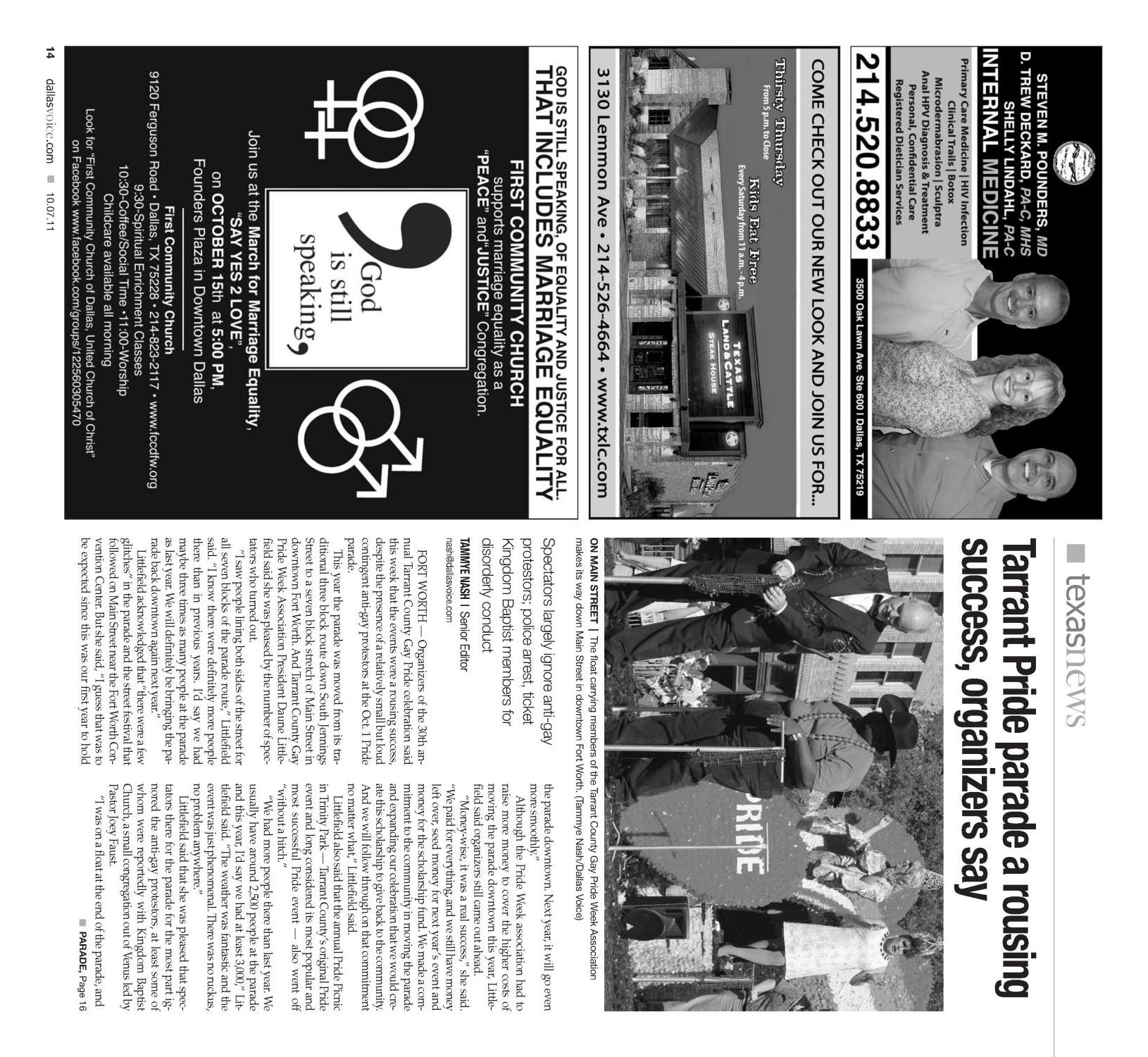 Dallas Voice (Dallas, Tex.), Vol. 28, No. 21, Ed. 1 Friday, October 7, 2011                                                                                                      [Sequence #]: 14 of 68