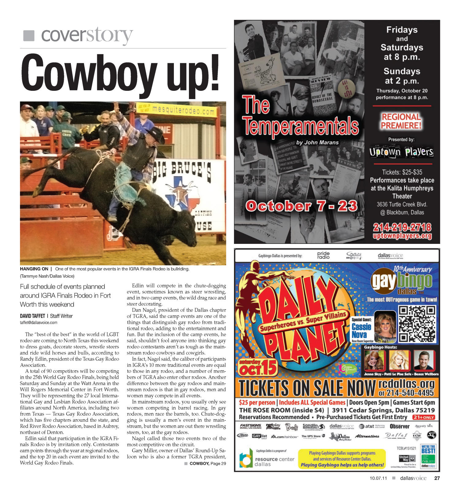 Dallas Voice (Dallas, Tex.), Vol. 28, No. 21, Ed. 1 Friday, October 7, 2011                                                                                                      [Sequence #]: 27 of 68