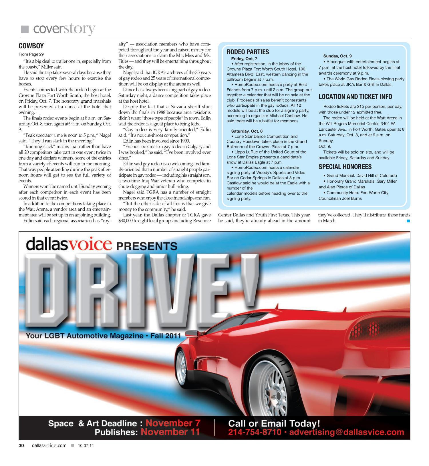 Dallas Voice (Dallas, Tex.), Vol. 28, No. 21, Ed. 1 Friday, October 7, 2011                                                                                                      [Sequence #]: 30 of 68
