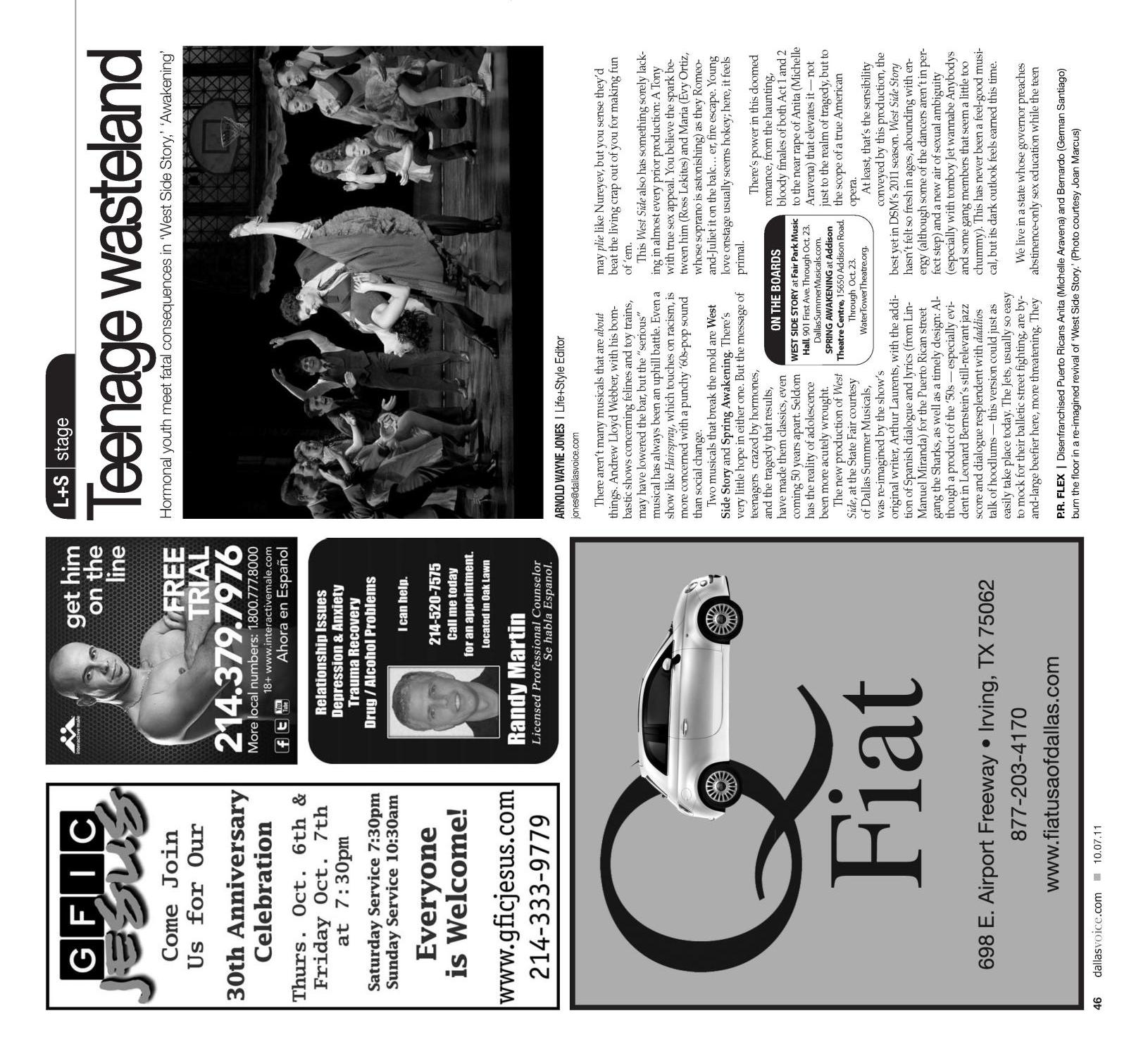 Dallas Voice (Dallas, Tex.), Vol. 28, No. 21, Ed. 1 Friday, October 7, 2011                                                                                                      [Sequence #]: 46 of 68