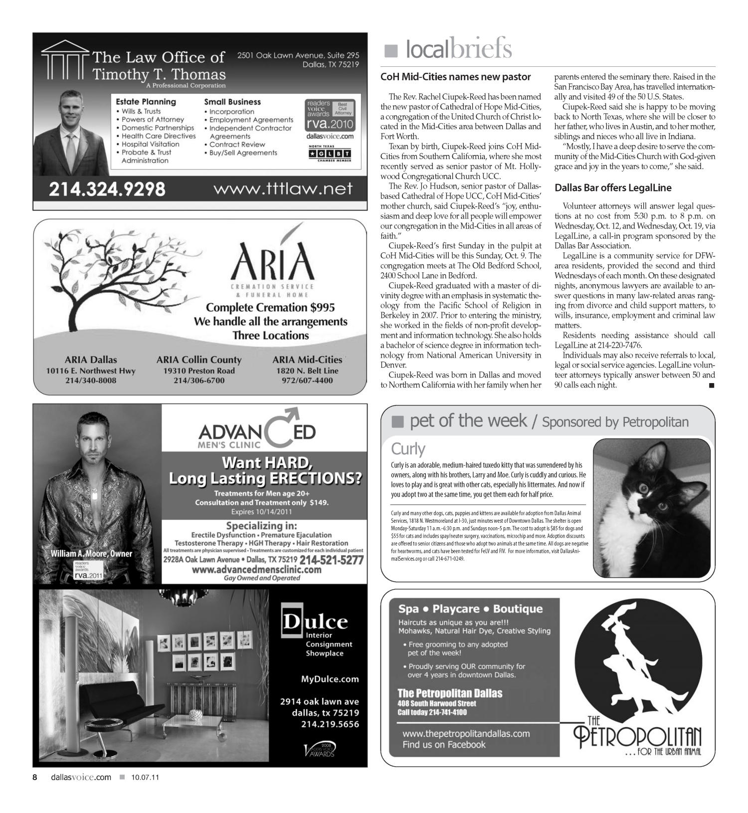 Dallas Voice (Dallas, Tex.), Vol. 28, No. 21, Ed. 1 Friday, October 7, 2011                                                                                                      [Sequence #]: 8 of 68