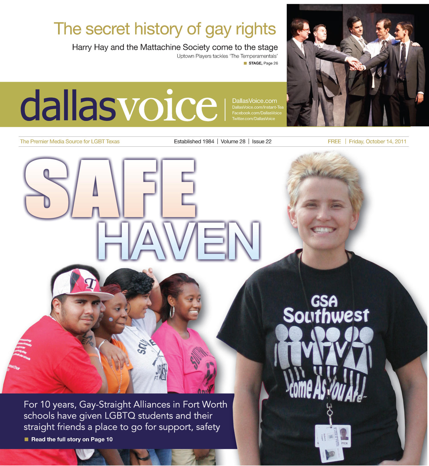Dallas Voice (Dallas, Tex.), Vol. 28, No. 22, Ed. 1 Friday, October 14, 2011                                                                                                      [Sequence #]: 1 of 48