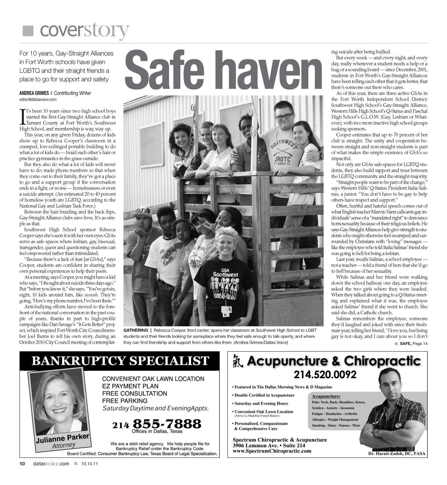 Dallas Voice (Dallas, Tex.), Vol. 28, No. 22, Ed. 1 Friday, October 14, 2011                                                                                                      [Sequence #]: 10 of 48