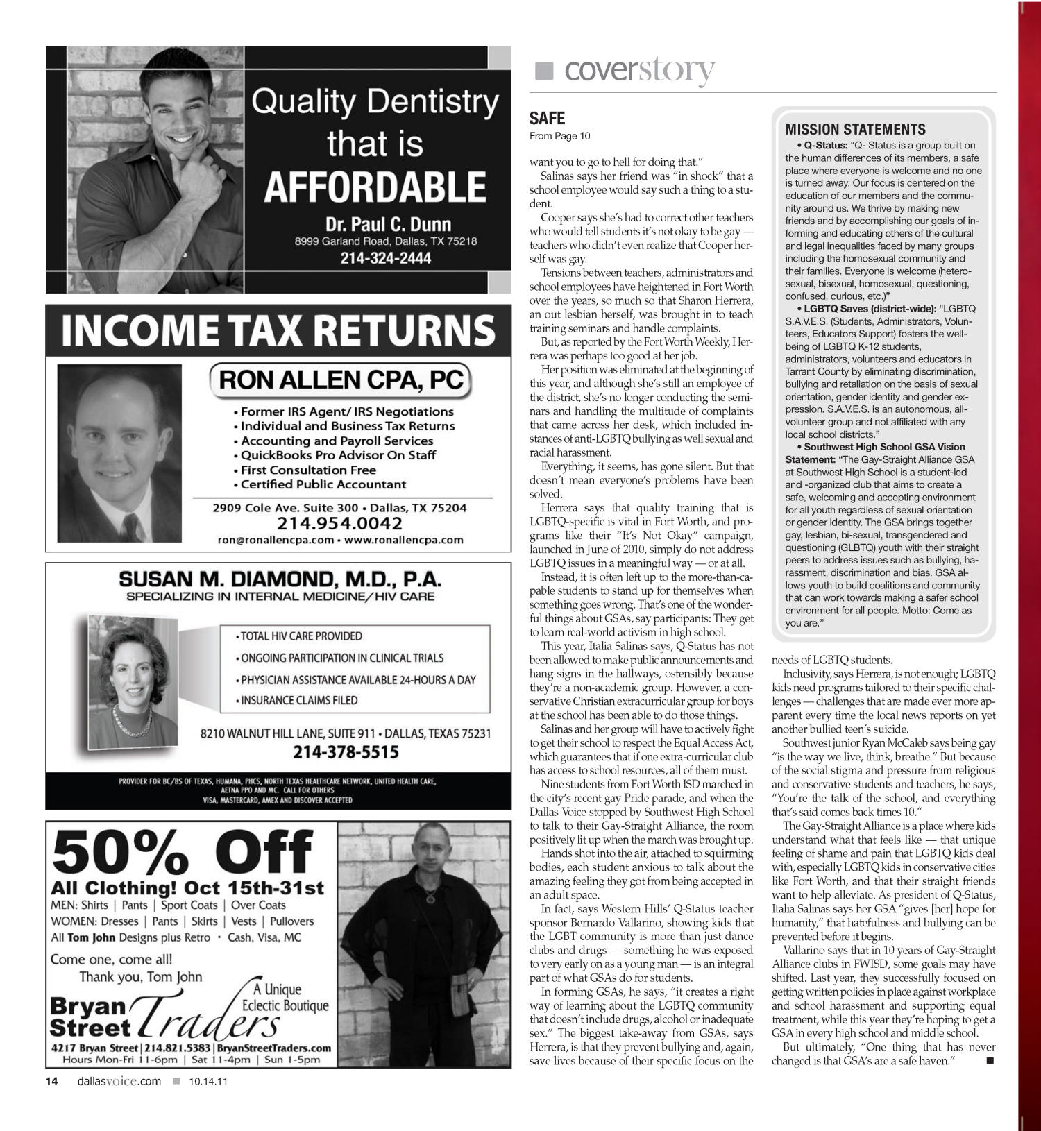 Dallas Voice (Dallas, Tex.), Vol. 28, No. 22, Ed. 1 Friday, October 14, 2011                                                                                                      [Sequence #]: 14 of 48