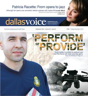 Primary view of object titled 'Dallas Voice (Dallas, Tex.), Vol. 28, No. 25, Ed. 1 Friday, November 4, 2011'.