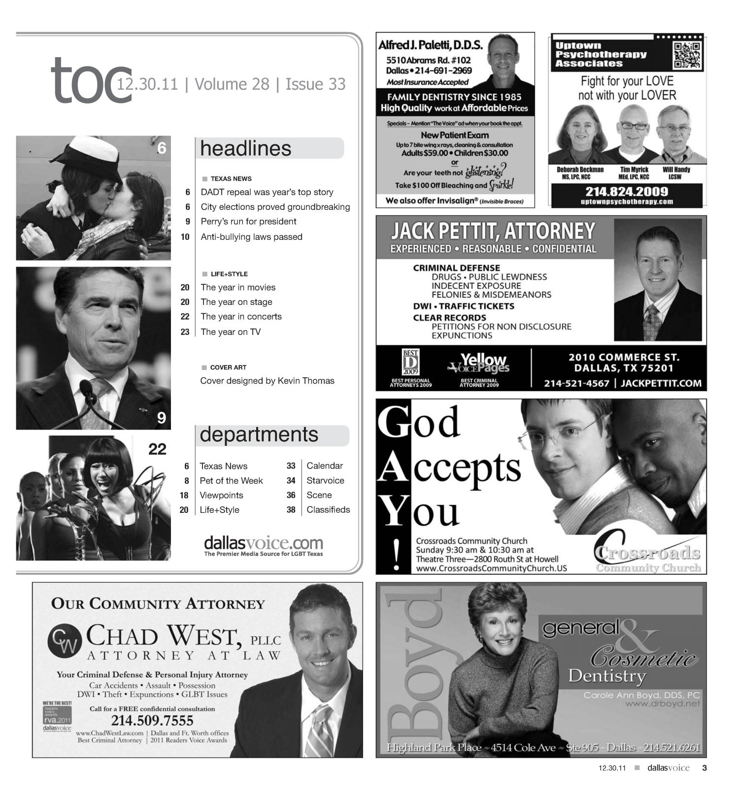Dallas Voice (Dallas, Tex.), Vol. 28, No. 33, Ed. 1 Friday, December 30, 2011                                                                                                      [Sequence #]: 3 of 44