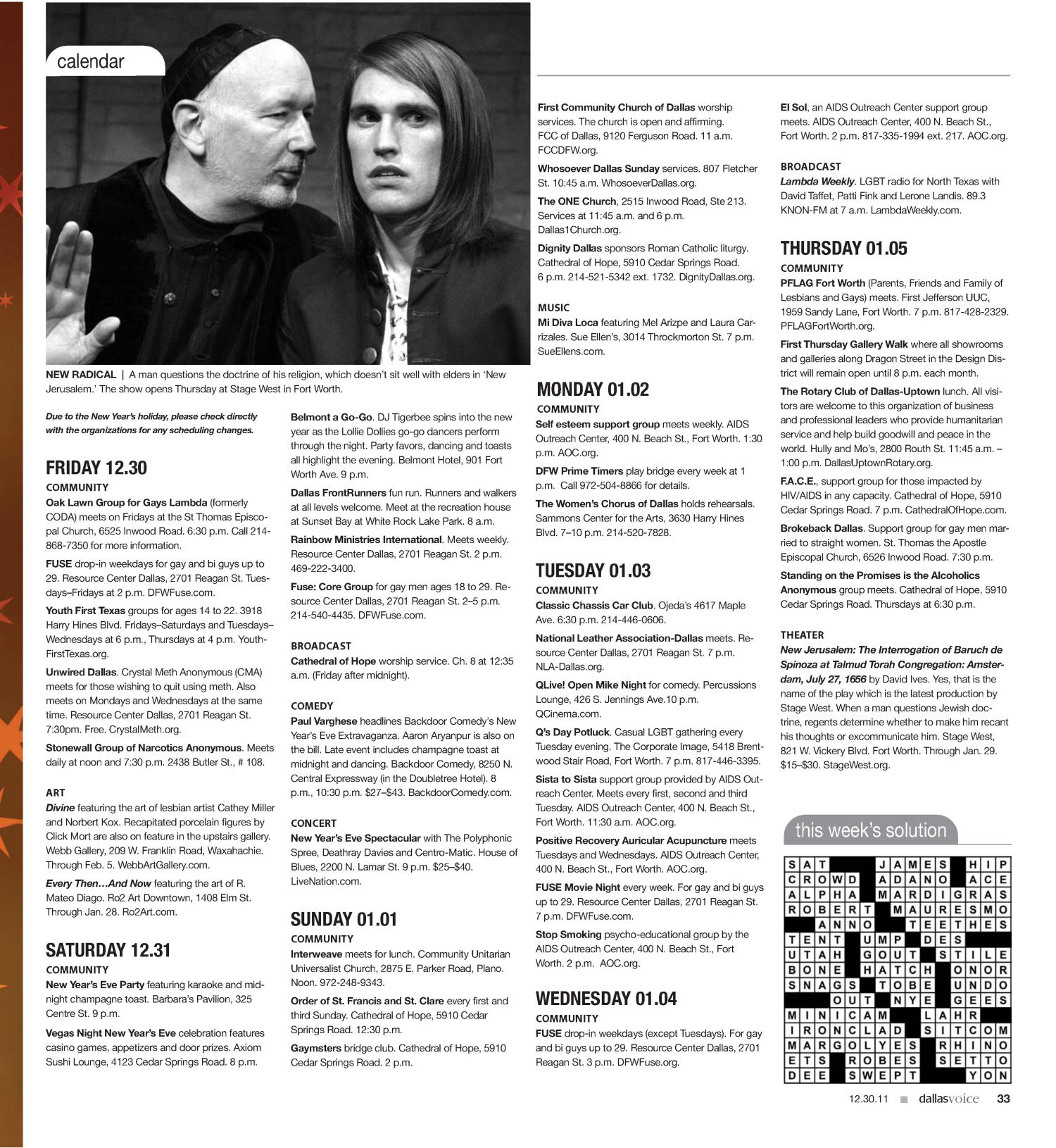 Dallas Voice (Dallas, Tex.), Vol. 28, No. 33, Ed. 1 Friday, December 30, 2011                                                                                                      [Sequence #]: 33 of 44