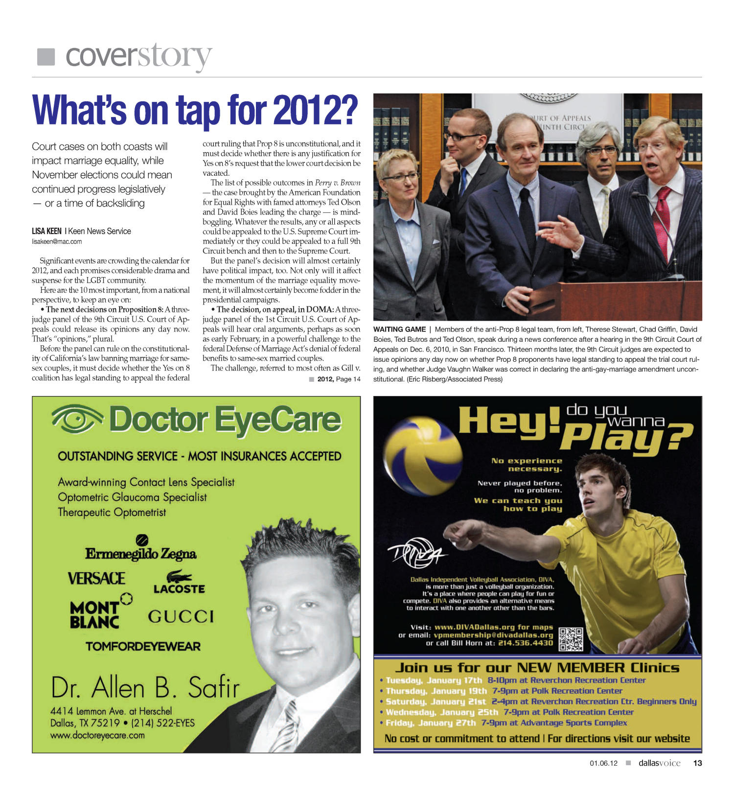 Dallas Voice (Dallas, Tex.), Vol. 28, No. 34, Ed. 1 Friday, January 6, 2012                                                                                                      [Sequence #]: 13 of 40