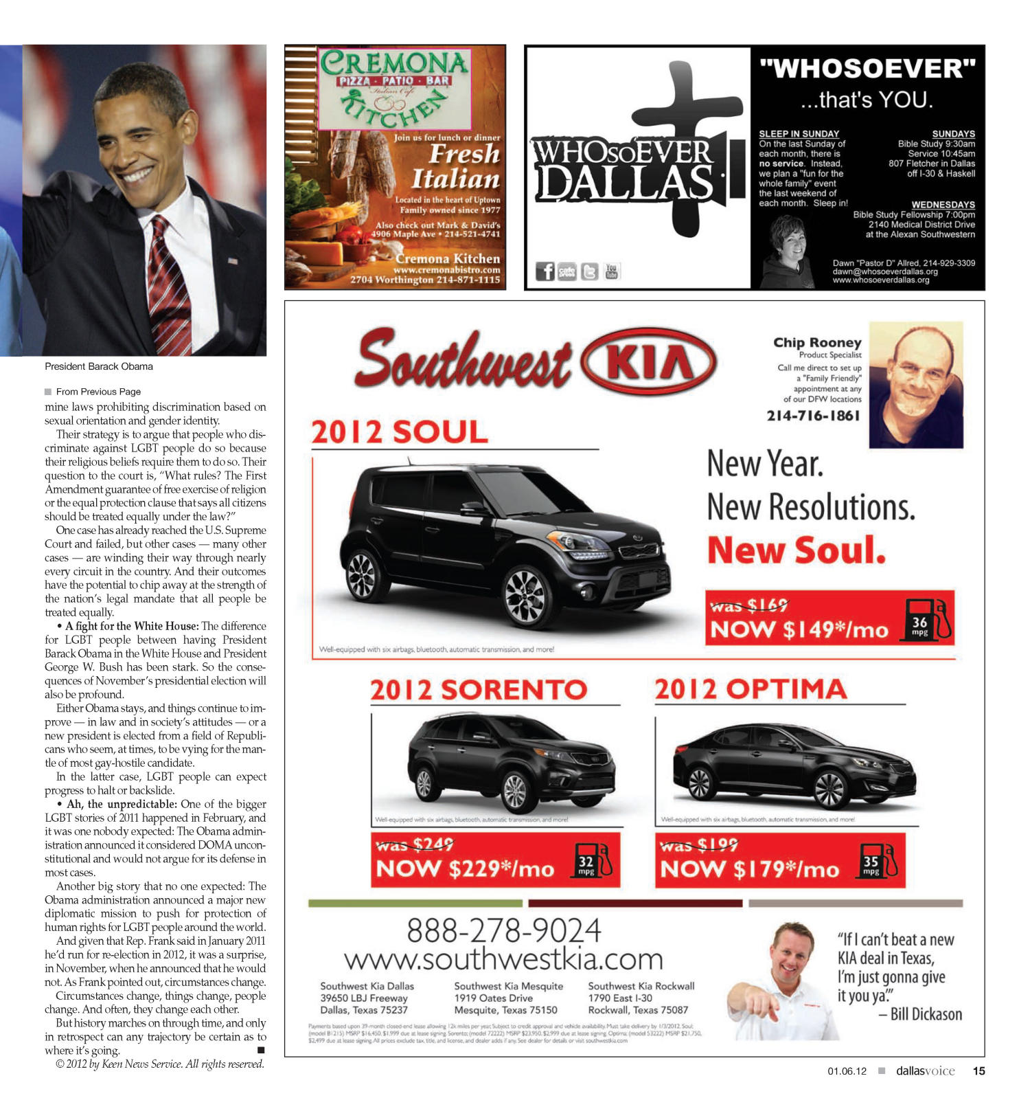 Dallas Voice (Dallas, Tex.), Vol. 28, No. 34, Ed. 1 Friday, January 6, 2012                                                                                                      [Sequence #]: 15 of 40