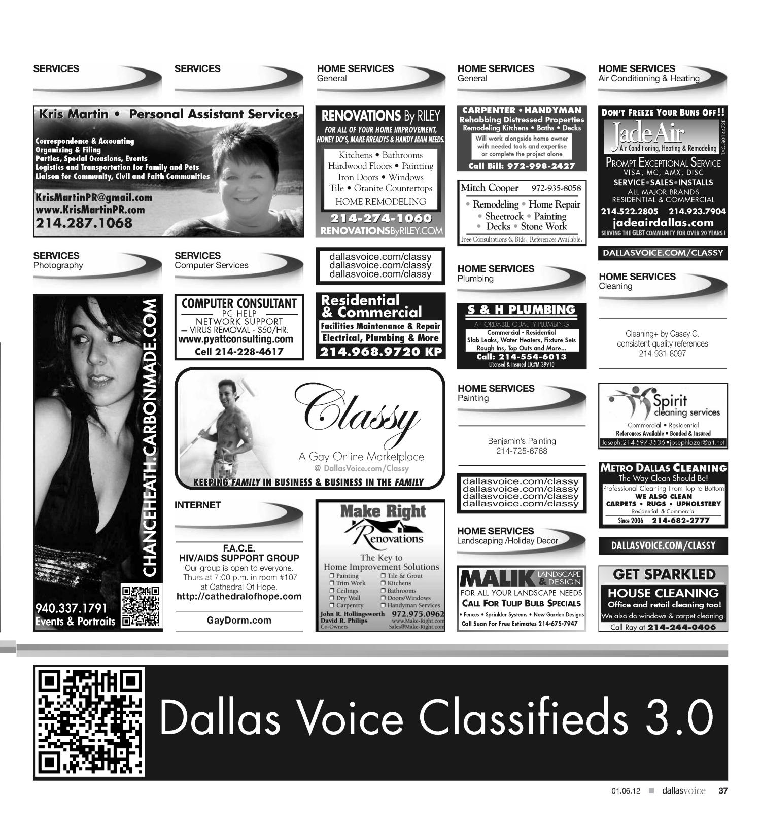 Dallas Voice (Dallas, Tex.), Vol. 28, No. 34, Ed. 1 Friday, January 6, 2012                                                                                                      [Sequence #]: 37 of 40