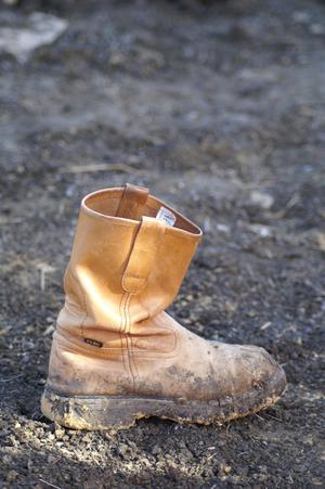 Primary view of object titled '[Close-up of empty boot]'.
