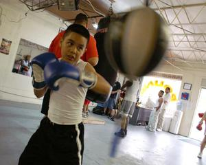 Primary view of object titled '[Young boy in boxing gloves hitting speed bag]'.