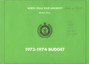 Primary view of object titled 'North Texas State University Budget: 1973-1974'.