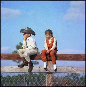 Primary view of object titled '[Two children sitting on a wooden fence]'.