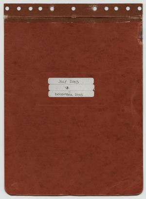 Primary view of object titled '[News Story Log: July 1 to December 31, 2003]'.