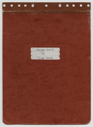 Primary view of object titled '[News Story Log: January 1 to June 30, 2003]'.