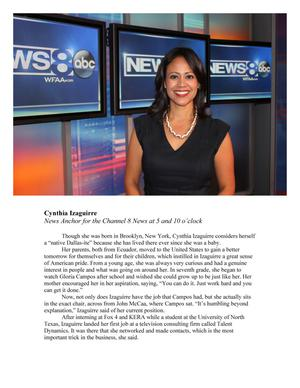 Primary view of object titled 'Cynthia Izaguirre, News Anchor for the Channel 8 News at 5 and 10 o'clock'.