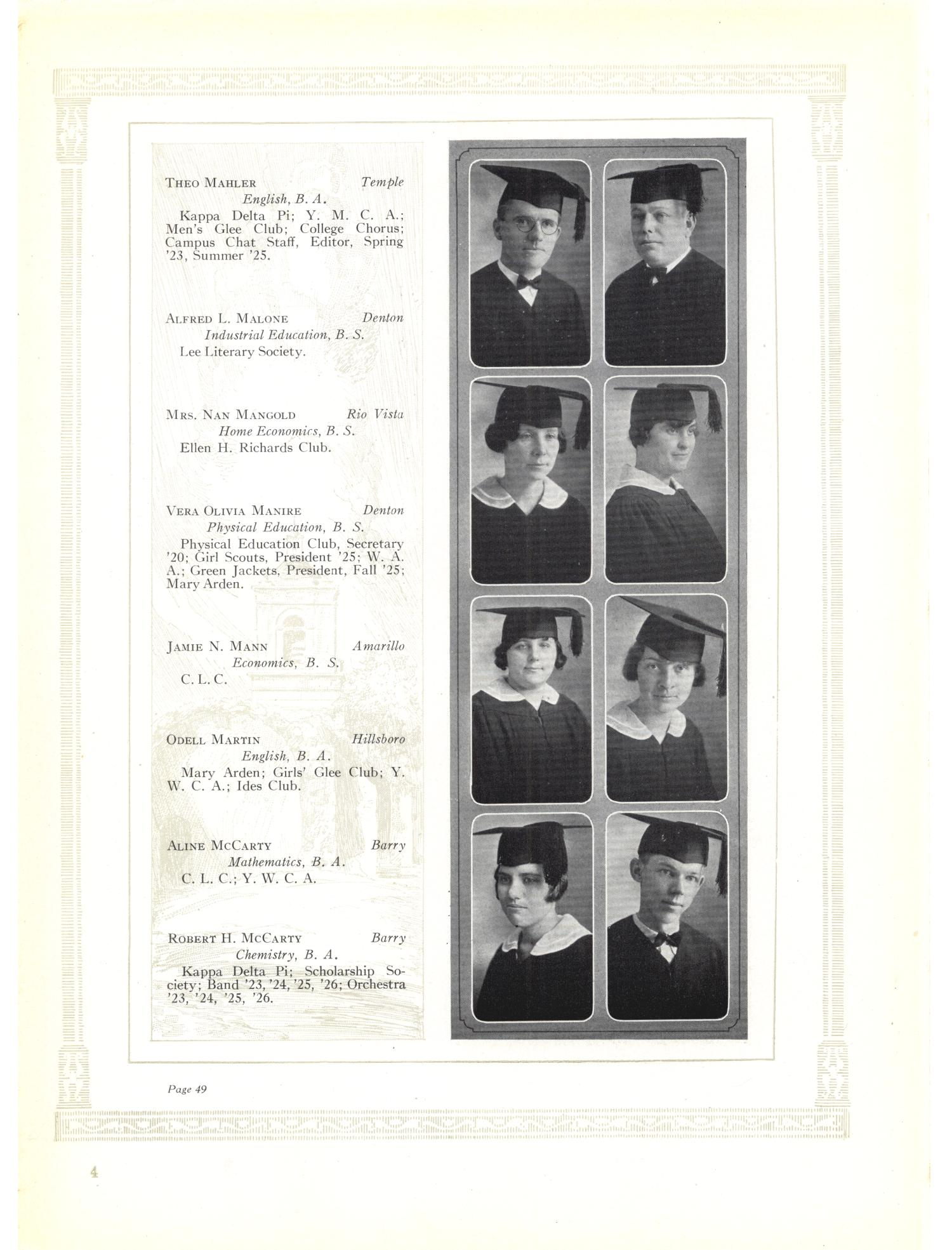 The Yucca, Yearbook of North Texas State Teacher's College