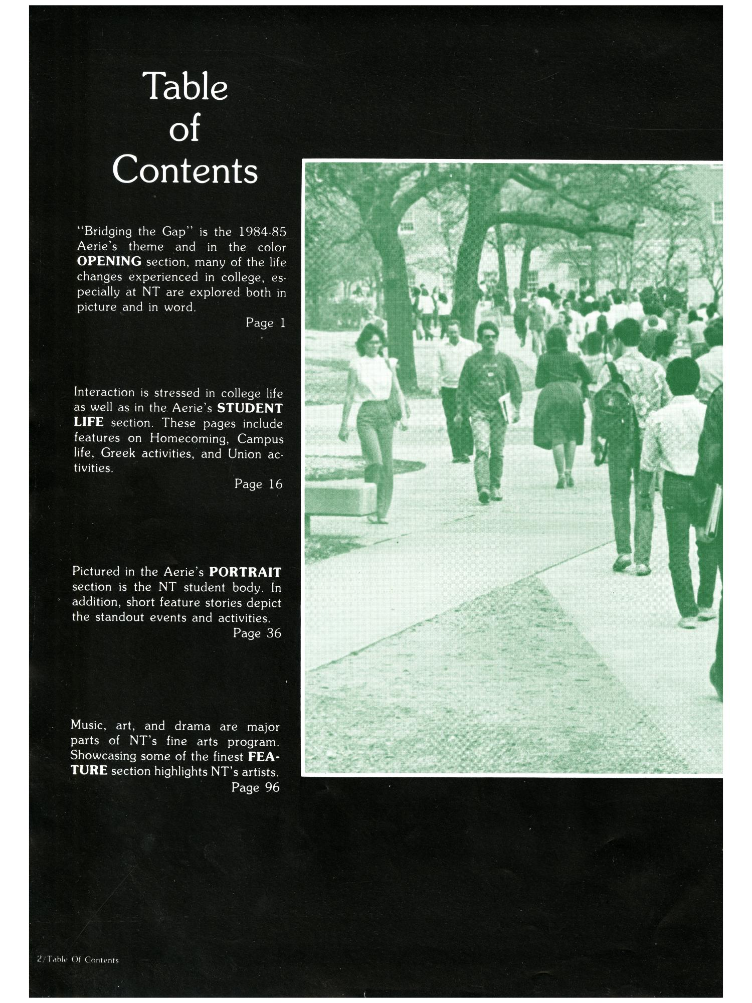 The Aerie, Yearbook of North Texas State University, 1985                                                                                                      2
