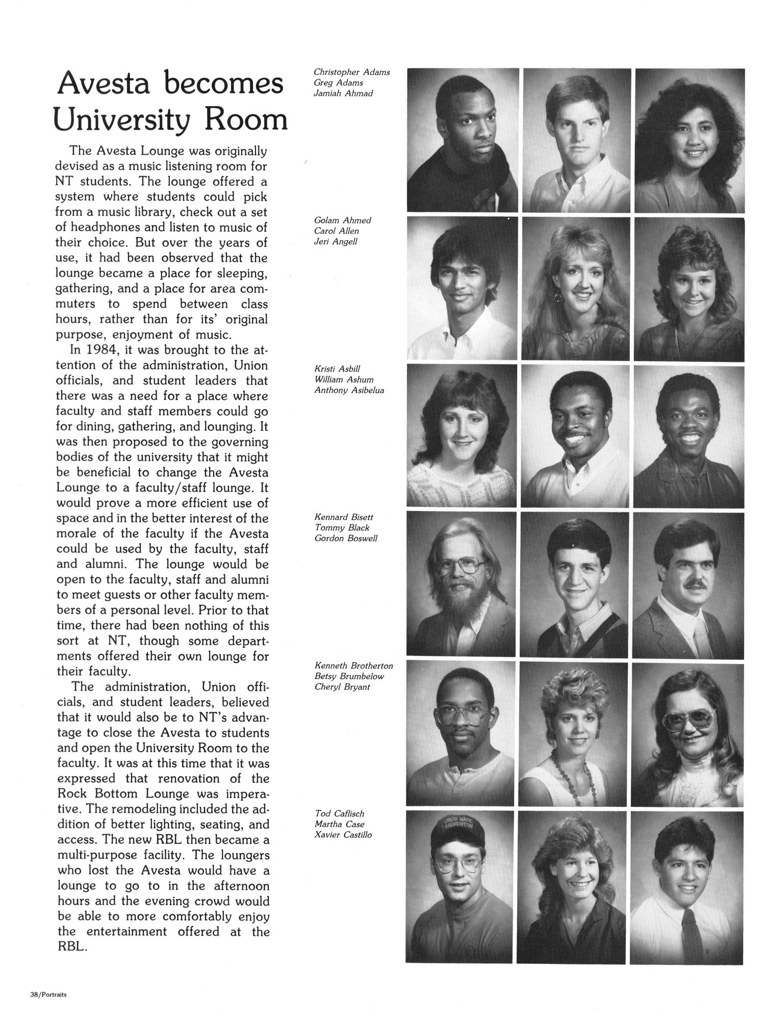 The Aerie, Yearbook of North Texas State University, 1985                                                                                                      38