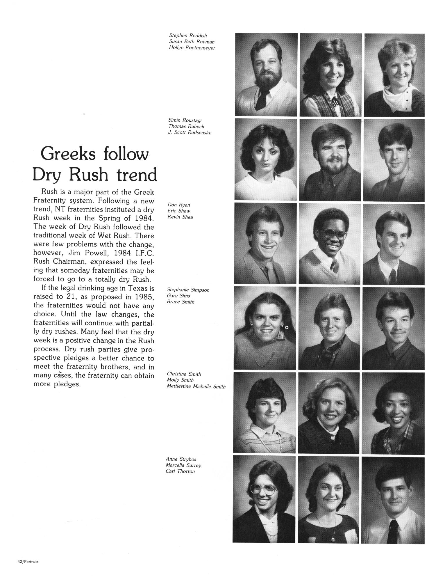 The Aerie, Yearbook of North Texas State University, 1985                                                                                                      42