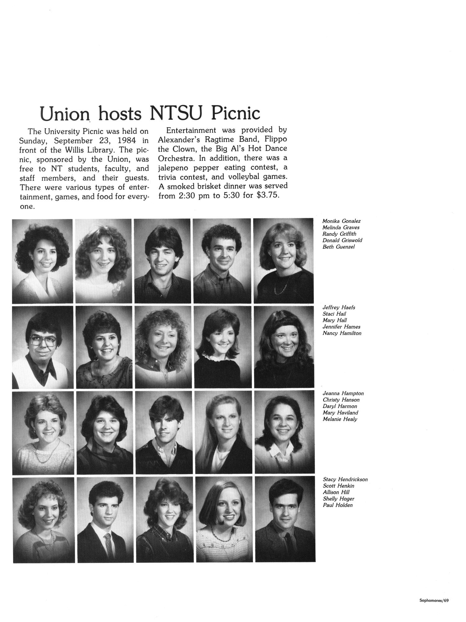 The Aerie, Yearbook of North Texas State University, 1985                                                                                                      69
